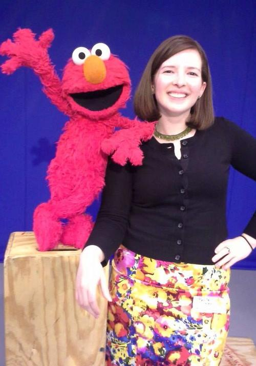 Marta Rusek with Elmo at Sesame Workshop